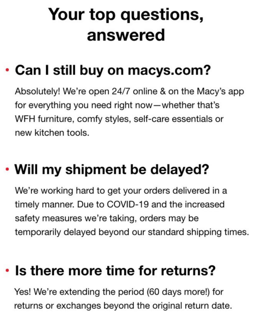 Macy's FAQs